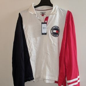 3/$75 - Tommy Hilfiger retro collared long sleeve